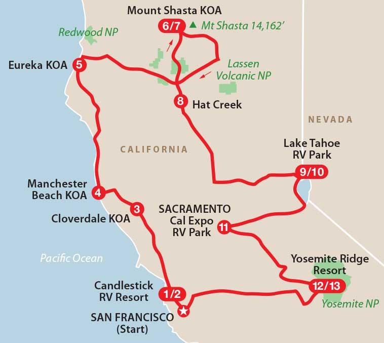 Northern California Highligts - California koa map