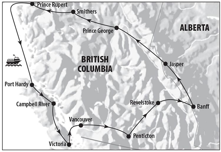 Vancouver, Penticton, Revelstoke, Banff, Jasper, Price Rupert, Isla Vancouver, Victoria