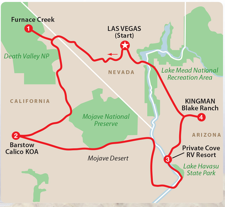 Death Valley, Mojave National Preserve, Lake Mead, Lake Havasu