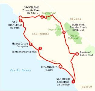 Los Angeles, Death Valley, Sequoia, Yosemite, San Francisco